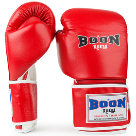 Boon Red Leather Velcro Boxing Gloves