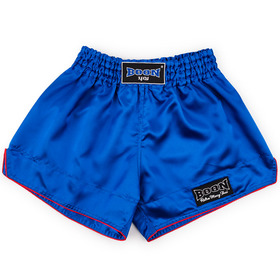 Boon Sport Satin Retro Muay Thai Shorts Blue