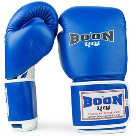 Boon Blue Leather Velcro Boxing Gloves