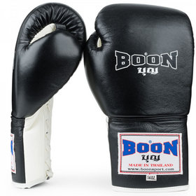 Boon Black Lace-Up Boxing Gloves