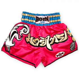 Boon Sport Satin Muay Thai Shorts Pink Flowers