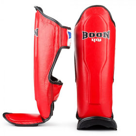 Boon Leather Shin Pads Red