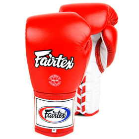 Fairtex Boxing Gloves / Pro Lace Up / Red