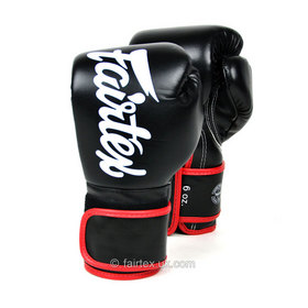Fairtex Black & Red Junior Microfibre Boxing Gloves