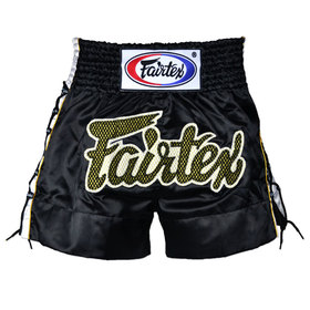 Fairtex Satin Muay Thai Shorts Black Laced