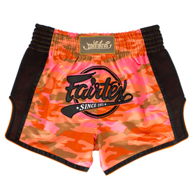 Fairtex Slim Cut Muay Thai Shorts Red Camo