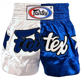 Fairtex Satin Muay Thai Shorts Classic Blue & White