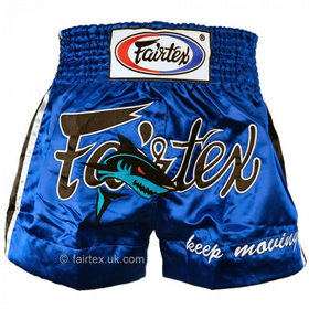 Fairtex Satin Muay Thai Shorts Blue Shark