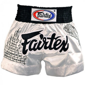 Fairtex Satin Muay Thai Shorts Superstition White