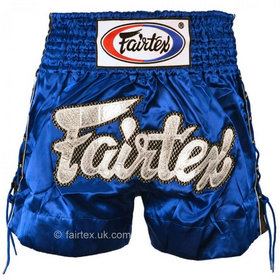 Fairtex Satin Muay Thai Shorts Blue Laced