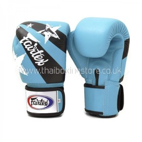 Fairtex Light Blue Nation Print Velcro Boxing Gloves