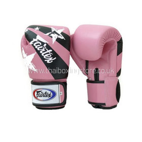 Fairtex Pink Nation Print Velcro Boxing Gloves