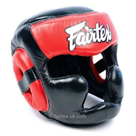 Fairtex Full Face Headguard Black & Red