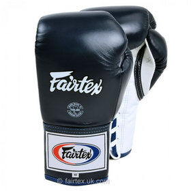 Fairtex Pro Lace Up Blue Boxing Gloves