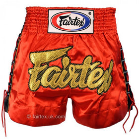 Fairtex Satin Muay Thai Shorts Red Laced