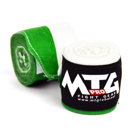 MTG Pro 5m Elasticated Hand Wraps Green & White