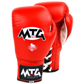 MTG Pro Competition Lace-up Boxing Gloves Red