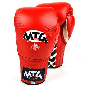 MTG Pro Lace-up Boxing Gloves Red