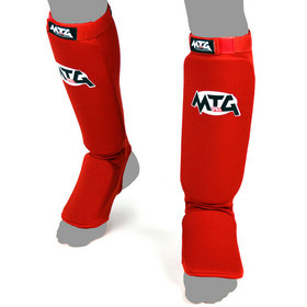 MTG Pro Elasticated Shin Pads Red