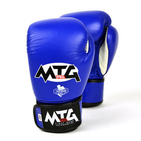 MTG Pro Junior Leather Velcro Boxing Gloves Blue