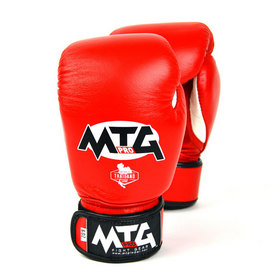 MTG Pro Junior Leather Velcro Boxing Gloves Red