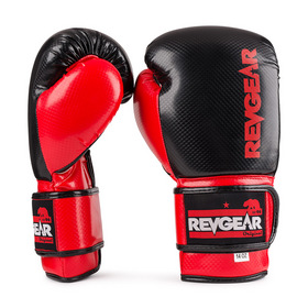 Revgear Pinnacle Velcro Boxing Gloves Black & Red