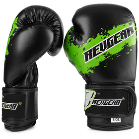 Revgear Kids Deluxe Velcro Boxing Gloves Black & Green