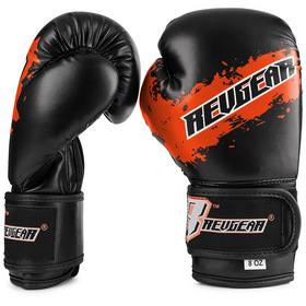 Revgear Kids Deluxe Velcro Boxing Gloves Black & Orange