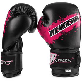 Revgear Kids Deluxe Velcro Boxing Gloves Black & Pink