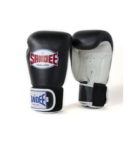 Sandee Two Tone Black & White Leather Velcro Boxing Gloves