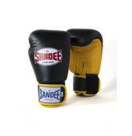 Sandee Two Tone Black & Yellow Leather Velcro Boxing Gloves