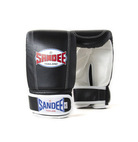 Sandee Velcro Black & White Leather Bag Gloves