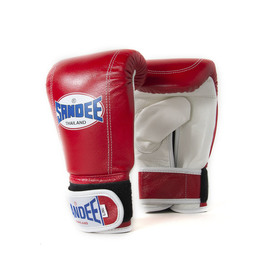 Sandee Velcro Red & White Leather Bag Gloves