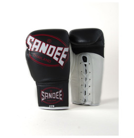 Sandee Cool-Tec Lace Up Pro Fight Black, White & Red Leather Boxing Gloves