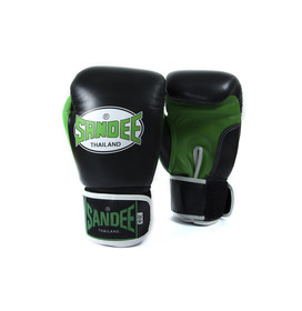 Sandee Neon Velcro Black & Green Leather Boxing Gloves