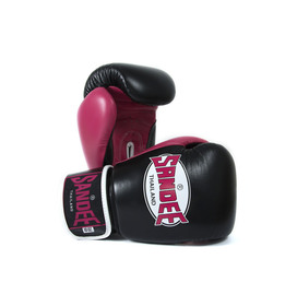 Sandee Neon Velcro Black & Pink Leather Boxing Gloves