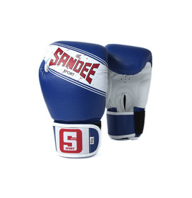 Sandee Sport Velcro Blue & White Synthetic Leather Boxing Gloves