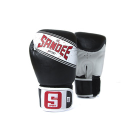 Sandee Sport Velcro Black & White Synthetic Leather Boxing Gloves