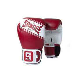 Sandee Sport Velcro Red & White Synthetic Leather Boxing Gloves