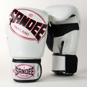 Sandee Classic Leather Velcro 3 Tone Gloves White Red Black