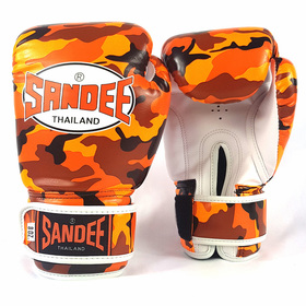 Sandee Authentic Velcro Camo Orange & White Synthetic Leather Boxing Gloves