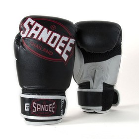 Sandee Cool-Tec Velcro Black, White & Red Synthetic Leather Boxing Gloves