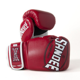 Sandee Cool-Tec Velcro Red, White & Black Synthetic Leather Boxing Gloves