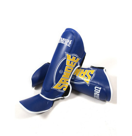 Sandee Cool-Tec Blue, Yellow & White Synthetic Leather Boot Shinguards