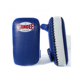 Sandee Small Extra Thick Synthetic Leather Flat Thai Kick Pads Blue & White