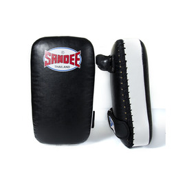 Sandee Small Extra Thick Synthetic Leather Flat Thai Kick Pads Black & White
