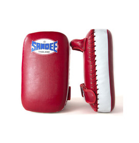 Sandee Small Extra Thick Synthetic Leather Flat Thai Kick Pads Red & White