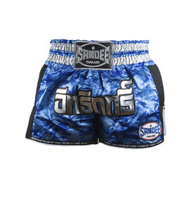 Sandee Supernatural Power Muay Thai Shorts Blue/Carbon/Silver/Black