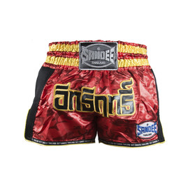 Sandee Supernatural Power Muay Thai Shorts Red/Carbon/Black/Gold