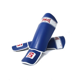 Sandee Sport Blue & White Synthetic Leather Boot Shinpads